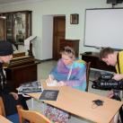 Отец Виталий, руководитель иконописной мастерской дает интервью для фильма